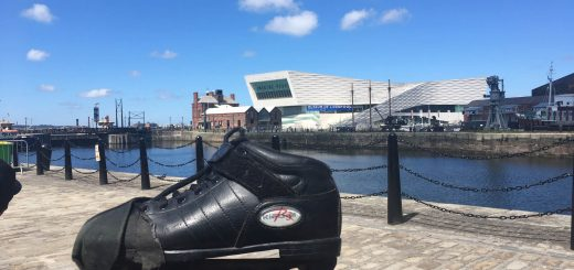 Jade's boots and the museum in the background